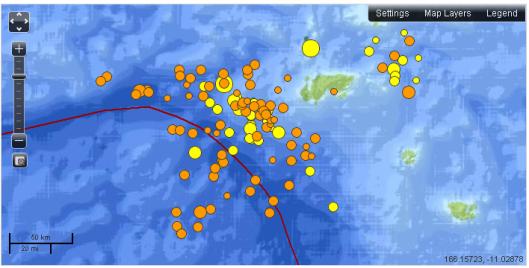 Earthquakes - 7 days, M2.5+